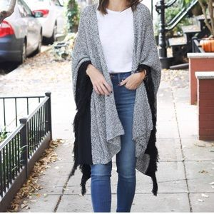 Cabi Black and White Sweater Poncho Cape